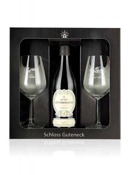 Geschenkset Rotwein Appassionante 2015 + 2 Gläser aus Glasbläserei Spiegelau